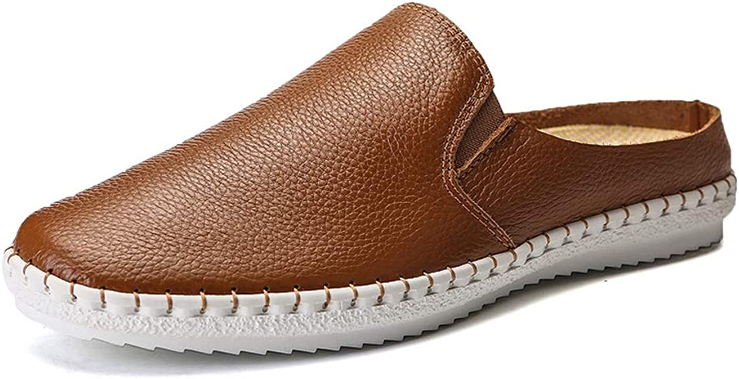 Driving Loafer for Men Casual Slipper Slip On Style Microfiber Leather Waterproof Round Toe Flat Heel Cricket shoes (color   Brown, Size   9.5 UK)