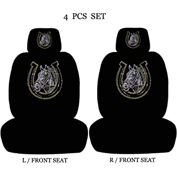 ALLBrand Car Truck Universal Fit Front 4-Piece Full Set Crystal Bling Rhinestone Studded Low Back Front Bucket Seat Cover with Separate Headrest Cover (Horse Shoe/Black)