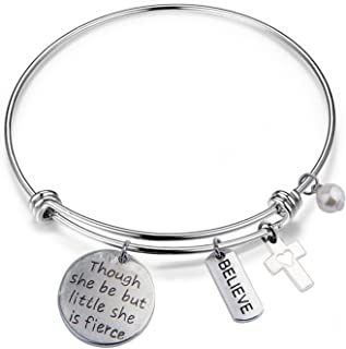 QIIER Best Friend Bracelet Though She Be But Little She is Fierce Bangle Shakespeare Quote Jewelry Bracelet with Cross Charm and Believe Charm