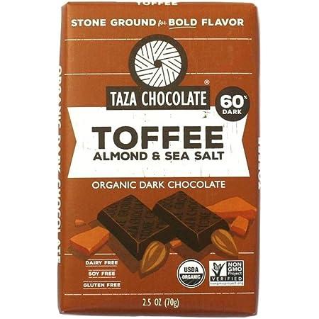 Taza Chocolate Organic Amaze Bar 60% Stone Ground, Toffee Almond Sea Salt, 2.5 Ounce (1 Count), Vegan