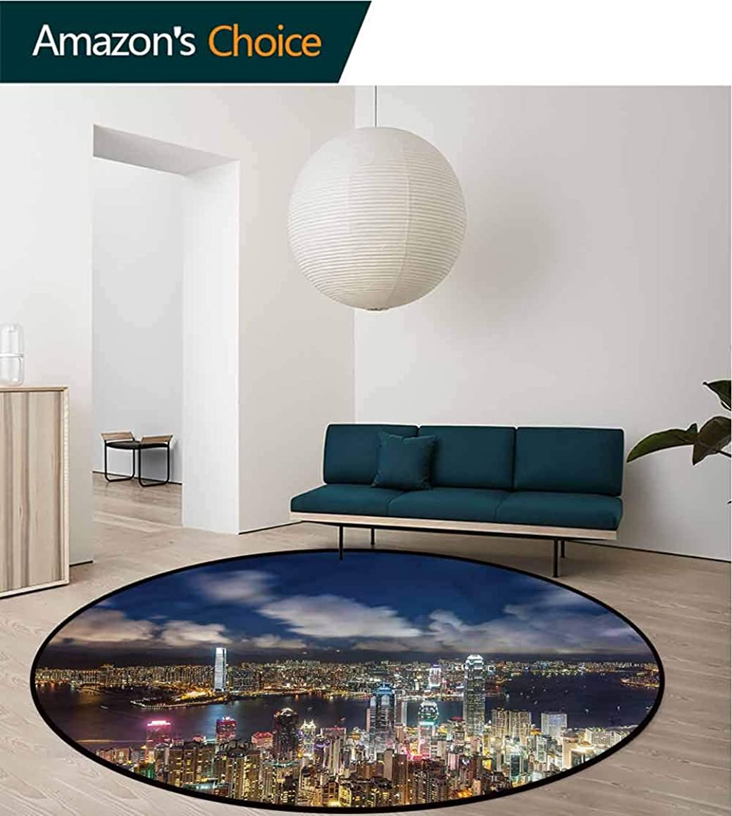 RUGSMAT Cityscape Non-Slip Area Rug Pad Round,Night View Hong Kong Pattern Floor Seat Pad Home Decorative Indoor Round-71