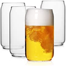 LUXU Beer Glass, 20 oz Can Shaped Beer Glasses Set of 4 -Craft Drinking Glasses,Large Beer Glasses for Any Drink and Any O...