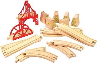 Bigjigs Rail Wooden Bridge Track Expansion Set - Other Major Wood Rail Brands are Compatible