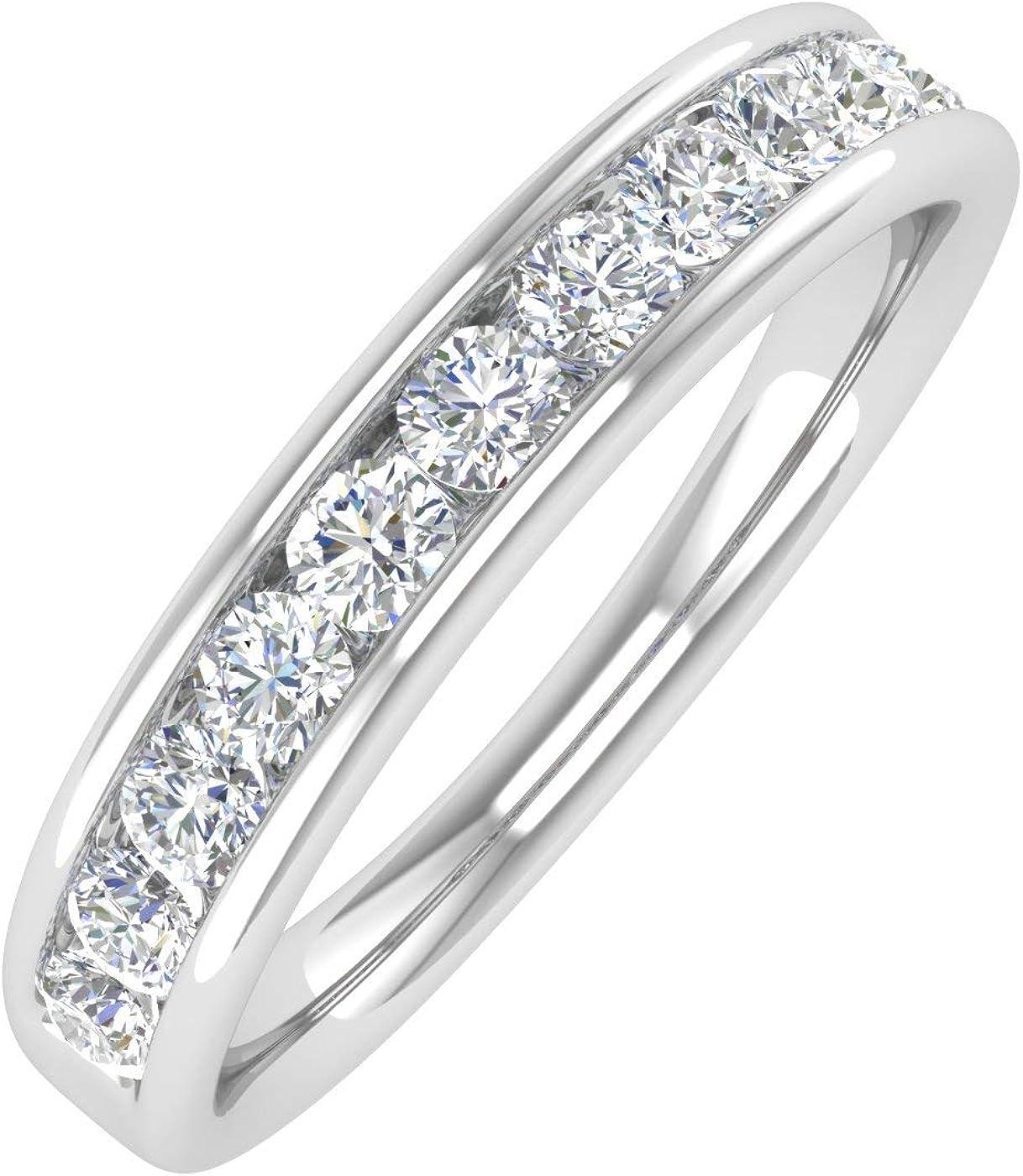 1/2 Carat to 1 Carat Channel Set Diamond Wedding Band Ring in 14K White Gold