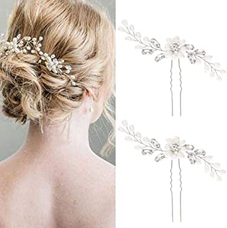 Bride Wedding Pearl Hair Pins Bridal Flower Hair Pieces Accessories for Women and Girls Pack of 2