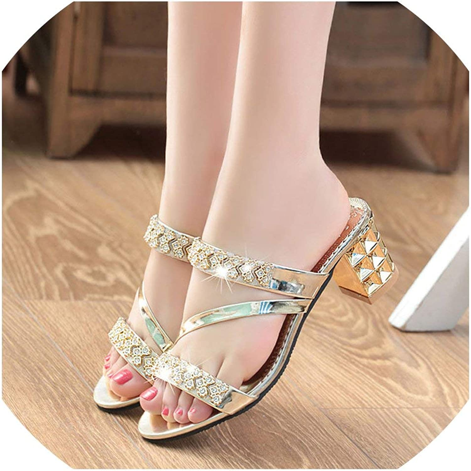 2019 Summer Women shoes Square Heel Sandals Peep Toe Ladies shoes Brand High Heel Sandals