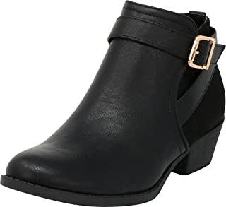Cambridge Select Women's Wraparound Strap Buckle Chunky Low Heel Western Ankle Bootie