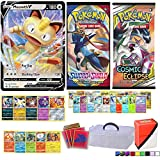 Totem World Pokemon Cards Collectors Lot: V Card Guaranteed with 2 Booster Packs, 5 Rares, 5 Foil Holo, 20 Regular Pokemon Cards, 65ct Elite Trainer Sleeves, Deck Box & Clear Organizer Case
