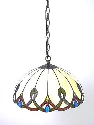 Bella-Vita Dapo Tiffany Pendelleuchte Pendellampe Hängeleuchte Hängelampe Chantal aus echtem Tiffany-Glas Deckenleuchte Deckenlampe Handarbeit