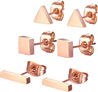 SPINEX 3 Pairs Stainless Steel Stud Earring Set Pierced (Rectangle, Square, Triangle)
