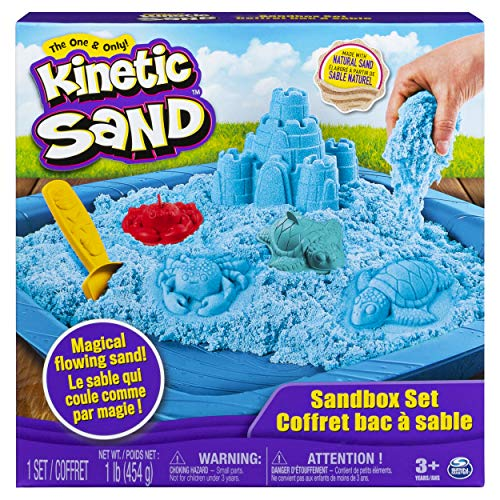 Kinetic Sand, Sandbox Playset with 1lb of Blue and 3 Molds, for Ages 3 and Up