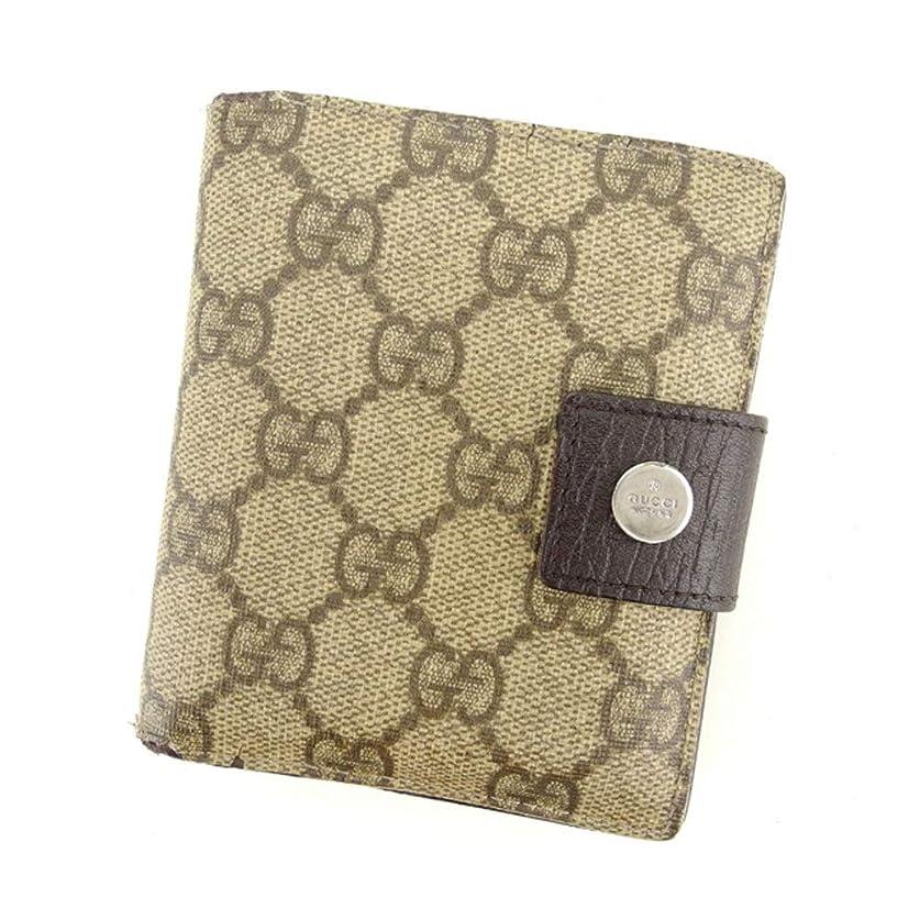 不完全な蒸気の間で(グッチ) Gucci 二つ折り 財布 ベージュ ブラウン シルバー GGプラス レディース メンズ 中古 C3315