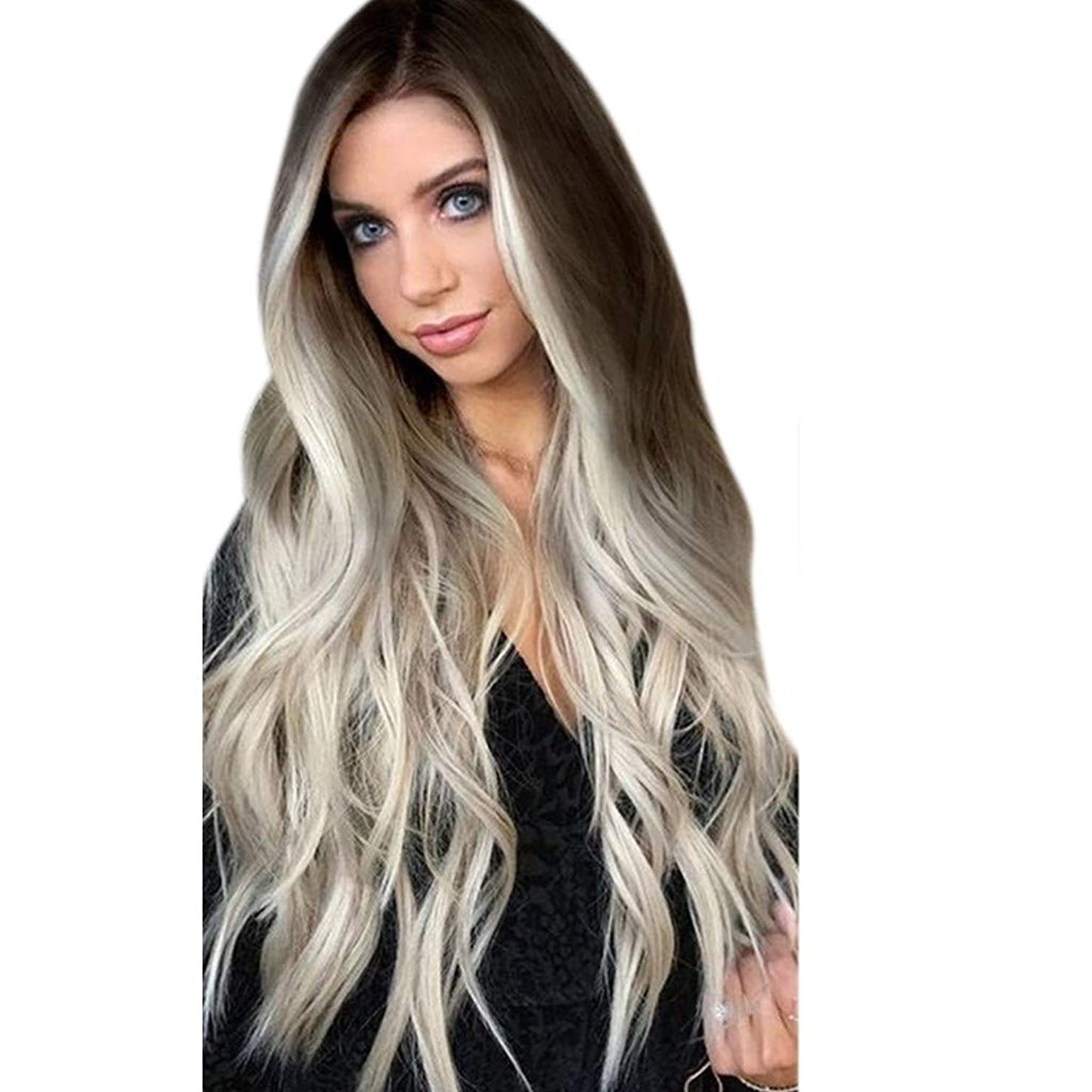 Ydida Grey Long Wavy Full Wigs Party Hair Wigs Rooted Light Blonde Lace Front Wigs for Women Best Synthetic Hair Wavy Wig with Flawless Hairline Heat Safe