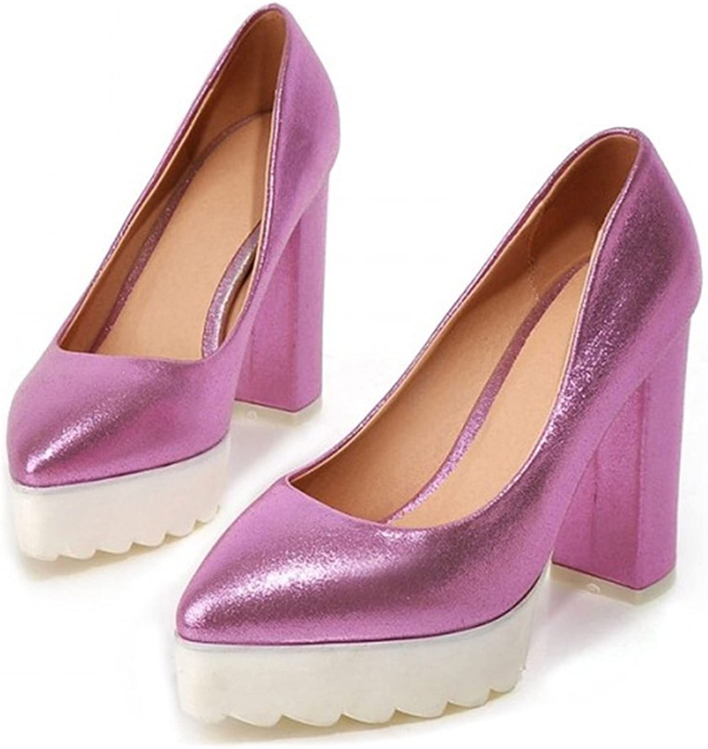 Thick Sole High Heel Thin shoes Pointed Casual purple 39