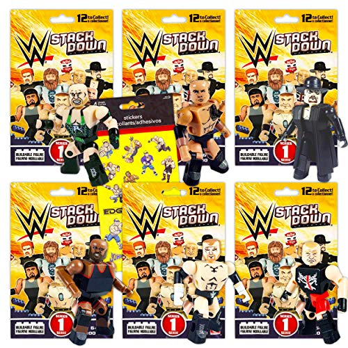 WWE Action Figure Set WWE Blind Bags Bundle - 6 Pack WWE Toys for Kids Toddlers WWE Party Supplies Birthday (WWE Blind Box Activity Set)