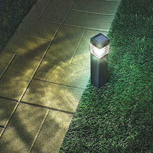 Sogrand Solar Garden Bollard Lights Outdoor Pathway Decorative Light Super Bright 10 Lumen Warm White LED Lamp Waterproof Christmas Decorations Landscape Lighting for Yard Path Walkway 4Pack