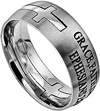 Christian Rings K36 Ephesians 2:8-9 Grace Faith Christ Wedding Band Scripture