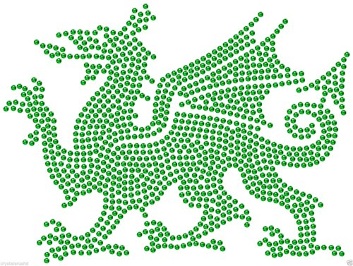 CrystalsRus Welsh Vlag Draak Iron-On Strass Diamante DIY Tshirt Bling Transfer Applique