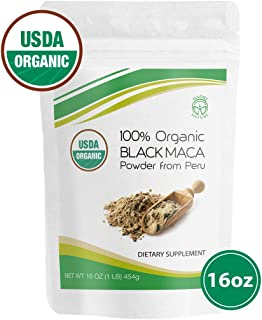 Madre Nature - Certified 100% USDA Organic Gelatinized Black Maca Powder - Fresh Harvest from Peru - Non-GMO - Vegan - Gluten Free - 1 LB, 50 Servings (16oz)