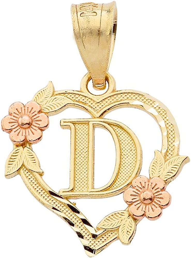 14k Beautiful Two-Tone Initial Heart Pendant for Women in Yellow and Rose Gold - Letter D