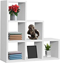 Sorbus Floating Shelf — Floating Shelf Stepped 6 Cubby — Stair Wall Shelf with 6 Openings, Decorative Hanging Display for Photo Frames, Collectibles, and Home Décor (Geometric Stepped – White)