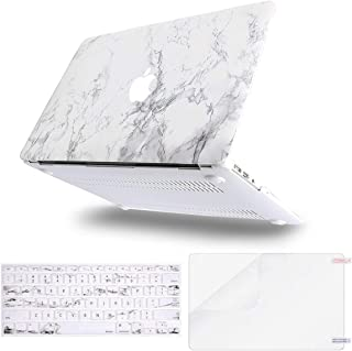 MOSISO Plastic Pattern Hard Shell Case & Keyboard Cover & Screen Protector Compatible with MacBook Air 11 inch (Models: A1370 & A1465), White Marble