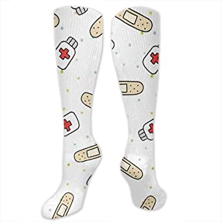 RIPO, Calcetines divertidos para enfermera con banda para vestir para mujeres, hombres y niñas