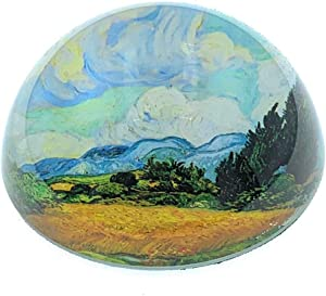 Value Arts Vincent Van Gogh Wheat Field with Cypresses Glass Dome Paperweight, 3 Inches Diameter