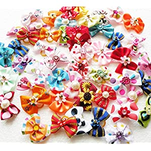 Rimobul Yorkie Pet Hair Bows Rubber Bands – Pack of 50