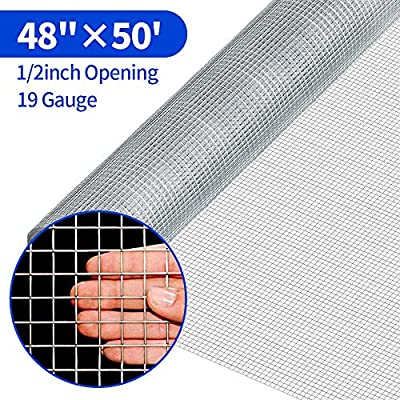 Amagabeli 48 x 50 1/2Inch Hardware Cloth Galvanized Welded Cage Wire 19 Gauge Fence Mesh Roll Garden Plant Supports Poultry Netting Square Chicken Wire Snake Fencing Gopher Racoons Rabbit Pen Gutter