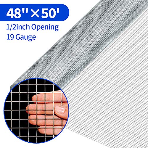 Amagabeli 48x50 Hardware Cloth 1/2 Inch 19 Gauge Square Galvanized Chicken Wire Galvanizing After Welding Fence Mesh Roll Raised Garden Bed Plant Supports Poultry Netting Cage Snake Fence
