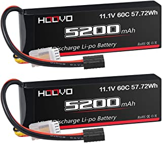 HOOVO 11.1V 60C 5200mAh 3S LiPo Battery with Tr Plug for RC Car RC Truck Airplane Helicopter Boat Car Racing RC Hobby (2 P...