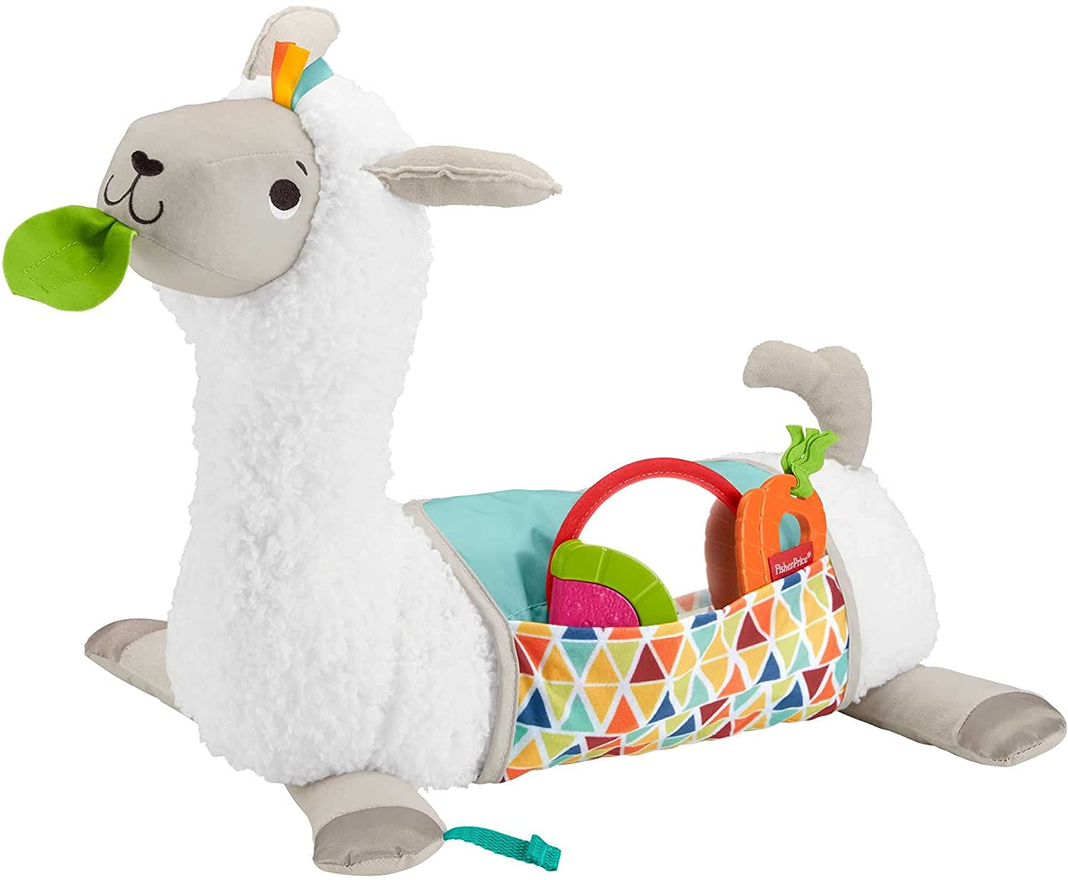 Fisher Price Tummy Time Llama - Full view with the Blanket and 3 take-along toys