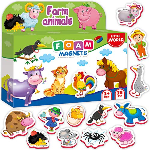 Fridge Magnets for Toddlers FARM Animals (28 pcs) - Refrigerator Magnets for...