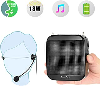 Portable Voice Amplifier SHIDU 18W S512 Personal Wired Microphone Headset and Speaker Mini Waistband Pa System for Teachers Coaches Elderly Singing Classroom Tours Fitness Instructors Kids
