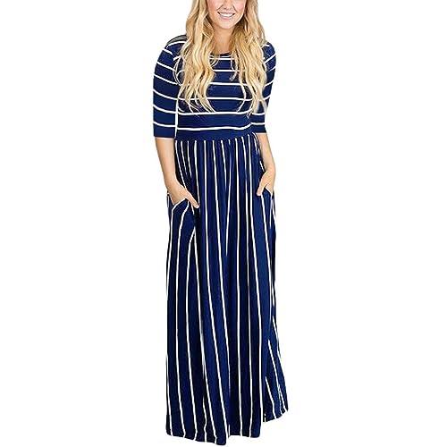 ab91e796690b HOTAPEI Women s Summer Casual Loose Striped Long Dress Short Sleeve Pocket  Maxi Dress