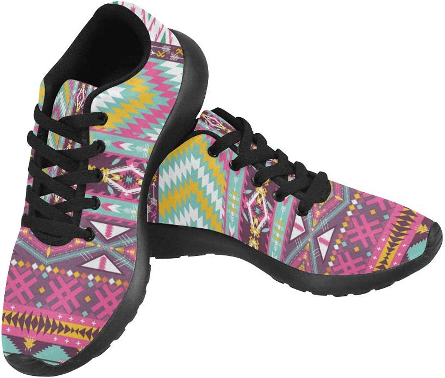 InterestPrint colorful Aztec Geometric Pattern Print on Women's Running shoes Casual Lightweight Athletic Sneakers US Size 6-15