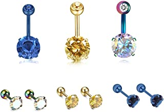 JDXN 3 Pcs 14G Stainless Steel Belly Button Rings 3 Pair 18G Ear Stud Piercing Barbell Studs Cartilage Helix Ear Piercing