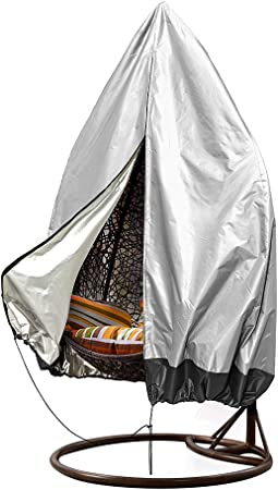 Amazon Com Patio Hanging Chair Covers Large Wicker Egg Swing Chair Covers Heavy Duty Weather Resisatnt Outdoor Chair Covers And Big Size 75 H X 45 D Grey Black Kitchen Dining