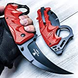 Snake Eye Tactical Everyday Carry Karambit Style Ultra Smooth One Hand Opening Folding Pocket Knife - Ideal for Recreational Work Hiking Camping (Red)
