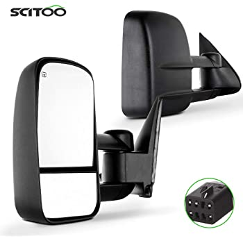 SCITOO Compatible with Towing Mirrors fit for 1999-2002 for GMC for Silverado for Sierra 1500 2500 2000-2002 for Suburban 1500 2500 Power Heated Telescoping Tow Mirrors Pair Set