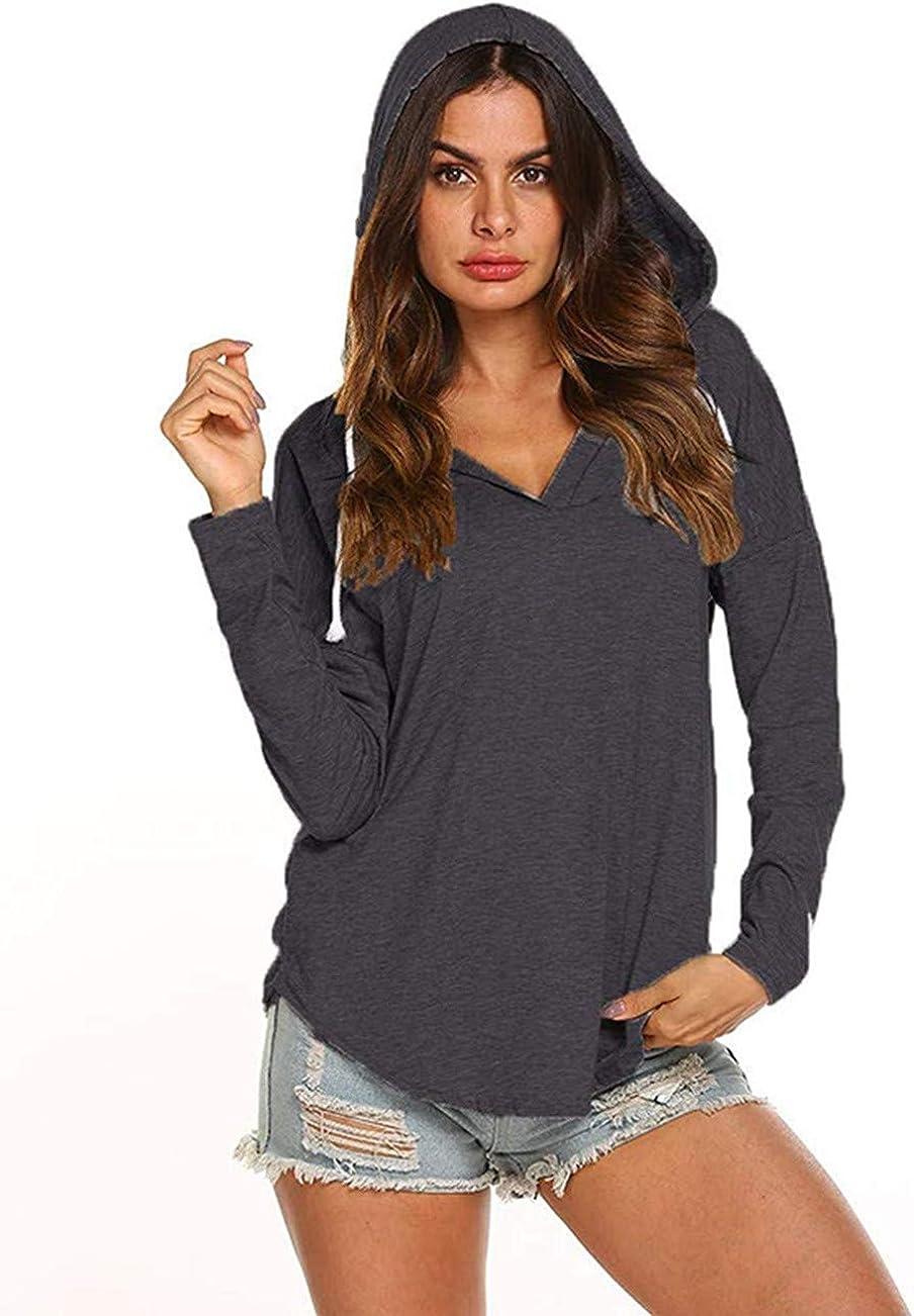 shushuKISS Womens Hooded V Neck Sweatshirts Long Sleeve Hoodie Soft Hoody Tshirts