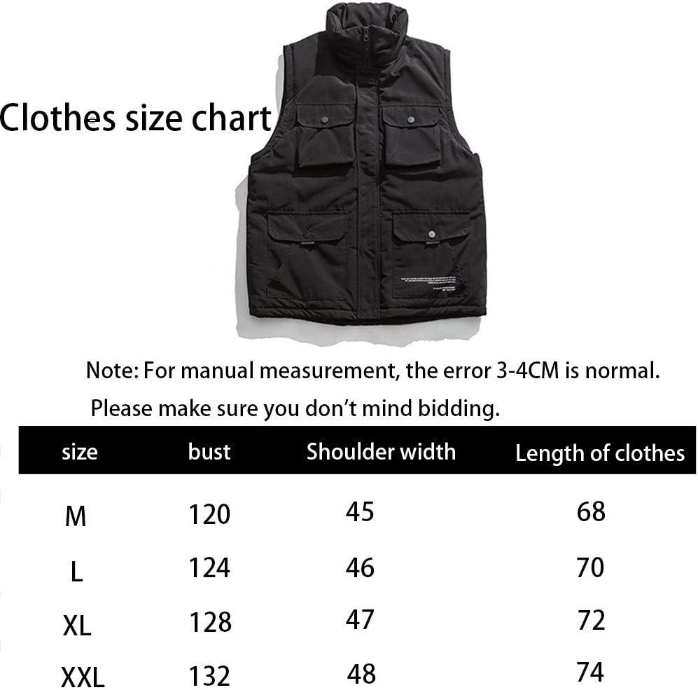 HXR Men's Winter Multi-Pocket Tooling Cotton Vest Vests (Color : A, Size : L)
