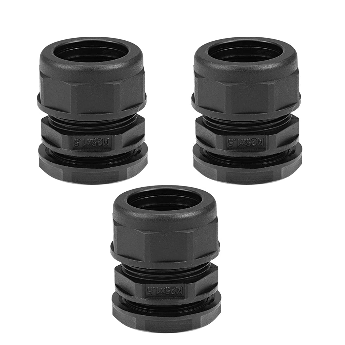 uxcell Waterproof Cable Gland Corrugated Tube Joint AD21.2 Adjustable Locknut Pipe Clamp 3pcs