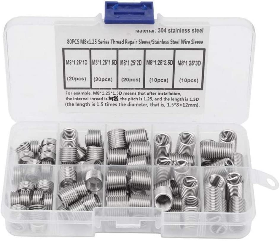 HNMY Threaded Inserts Oakland Mall security 80pcs M81.25 Stainless Wire H Coiled Steel