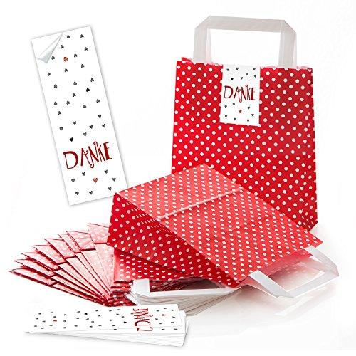 5 kleine rot gepunktete Papier-Tragetaschen Papiertüten mit Henkel + Boden 18 x 8 x 22 cm + 5 Aufkleber 5 x 15 cm DANKE rot graue HERZEN - Weihnachten Geschenktüten give-aways Kunden-Verpackung