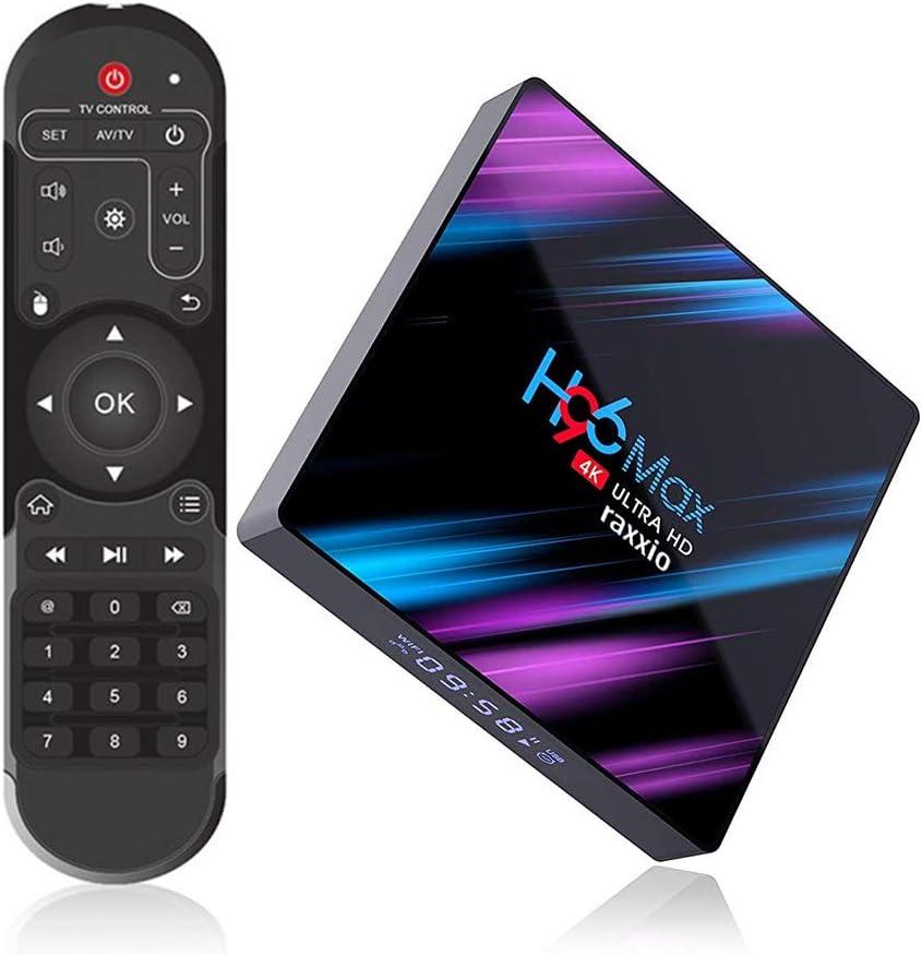 Raxxio H96 Max Android TV Box 9.0 with 4GB RAM 64GB ROM I 4K Smart Set Top Box Equipped RK3318 Quad-Core Processor 64bit Support 3D 2.4G/5G Dual WiFi/H.265/BT 4.0/USB 3.0 I Latest Model