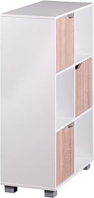 KadimaDesign Biblioteca de diseño Blanco SAMO Moderno de Madera con Puertas de Roble de pie Sonoma estanterías Independientes 6 Compartimentos 60x90x30cm
