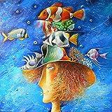 WSKPE Kit de Pintura Digital, Pintura Digital DIY Pintura al leo pez Payaso, Pintura Creativa sobre Lienzo, 40 * 50 cm