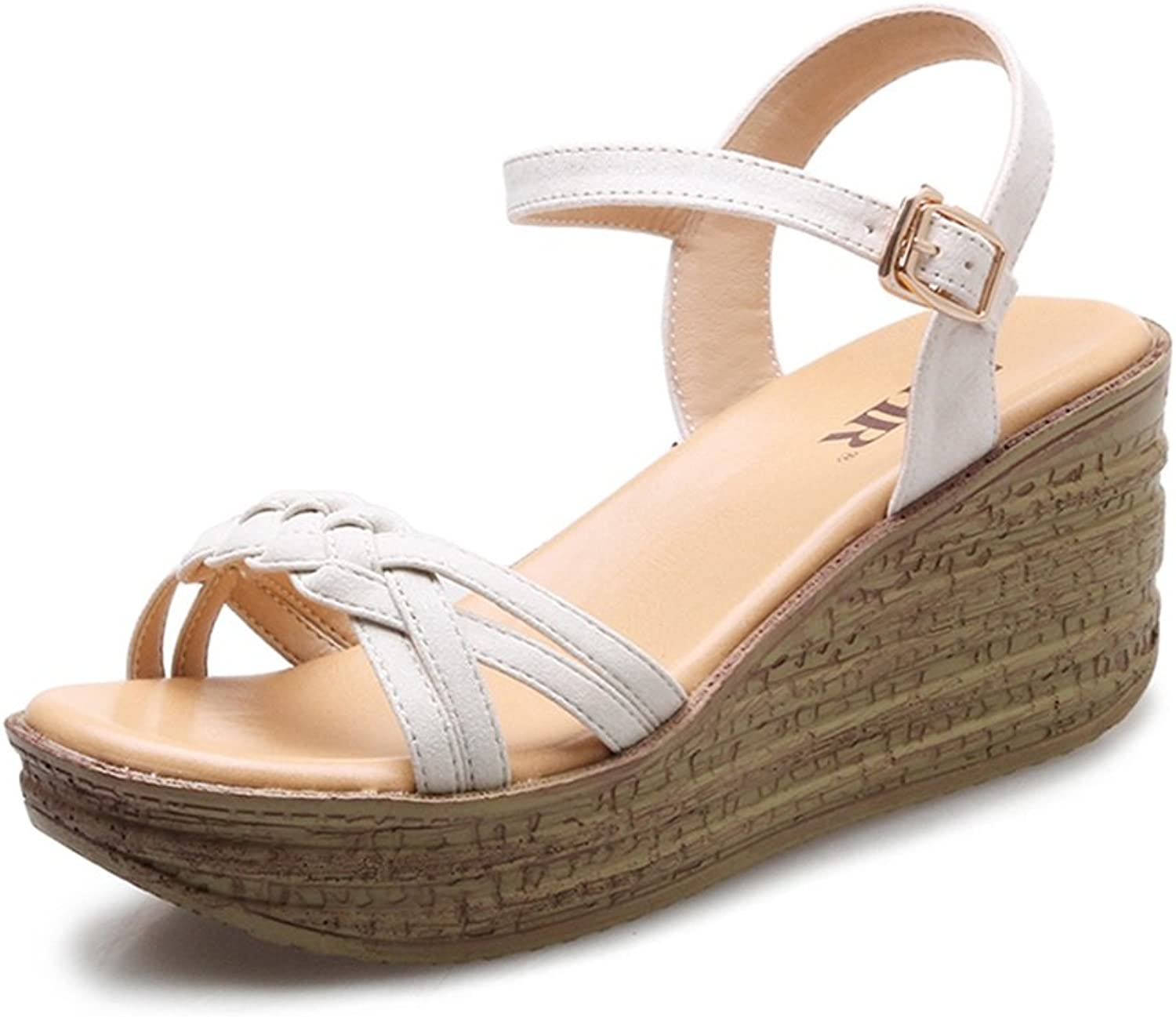 Summer Muffin Sandals Bohemian high-Heeled shoes Buckle Women's shoes (color   Beige, Size   35)